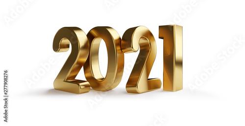 Obraz 2021 golden bold letters 3d-illustration isolated - fototapety do salonu