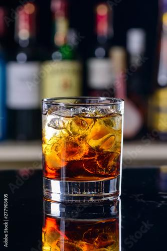 Photo  classic cocktail negroni blur bar