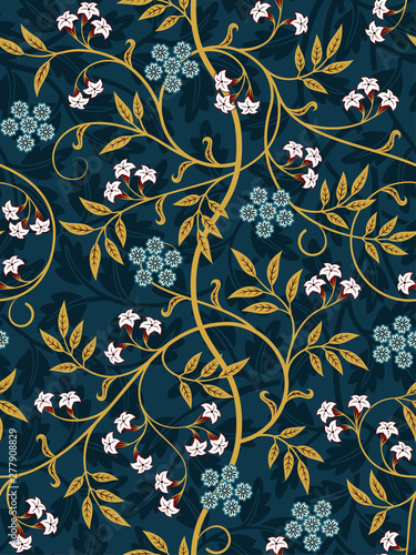 Vintage floral seamless pattern on dark background Fototapete