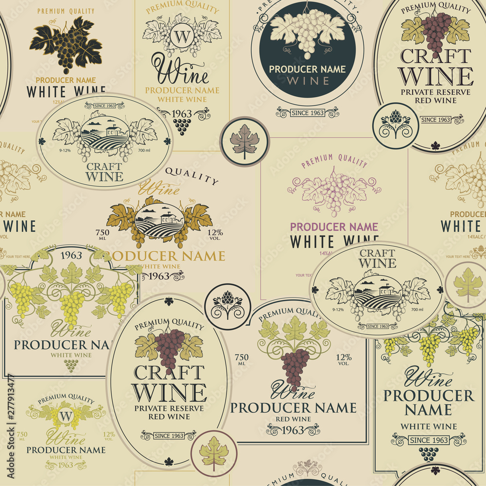 Fototapeta seamless pattern on the theme of wine with various wine labels with images of grapes, landscapes, winery and other in retro style