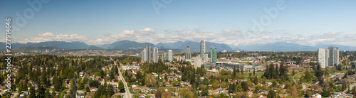 Panoramic view of residential neighborhood in the city during a sunny day. Taken in Greater Vancouver, British Columbia, Canada. - 277914646