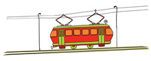 Old Red Tram Number 18 On A White Background. Vector Image