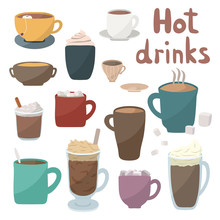 Hot Drinks Vector Illustration. Winter And Autumn Drinks Icons Set