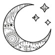 Crescent moon with stars with abstract patterns on isolation background. Design for spiritual relaxation for adults. Line art creation. Black and white illustration for anti stress colouring page