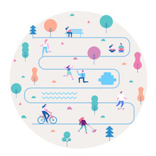 Various People At Summer Park. Leisure Outdoor Activities -walking, Riding Bicycle, Eating Street Food, Walking Dog, Playing. Background People Characters. Modern Flat Vector Illustration.