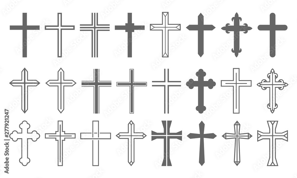 Fototapety, obrazy: Cross Set Christian Icon Collection