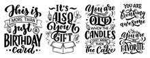 Set With Birthday Lettering In Retro Style. Anniversary Invitation Cards. Vintage Invitation Templates For Celebration Design. Funny Quotes