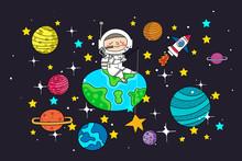 Astronaut Sitting On Planet Ea...