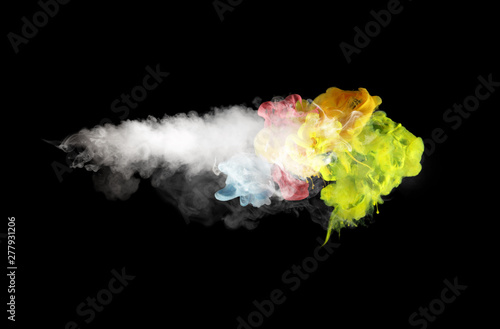 White smoke and colors blot on Black. Abstract background.