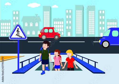 Stampa su Tela underpass, footbridge, overpass, children using pedestrian crossing