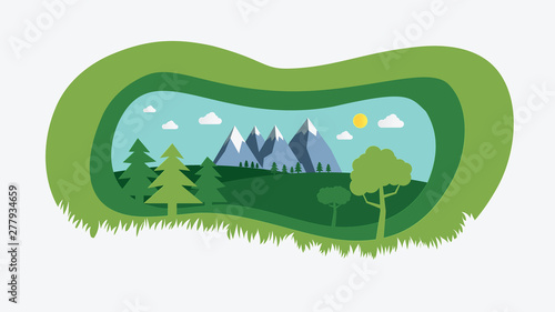 Foto auf AluDibond Pistazie nature landscape with paper cut style design vector illustration.Green natural field with trees , hills , mountains and sky background.Summer with beautiful nature scene.