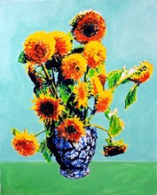 Lion Sunflowers Blue Vase
