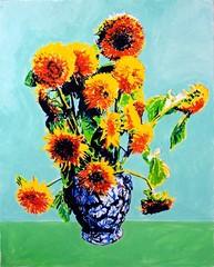 Fototapeta Słoneczniki Lion Sunflowers Blue Vase