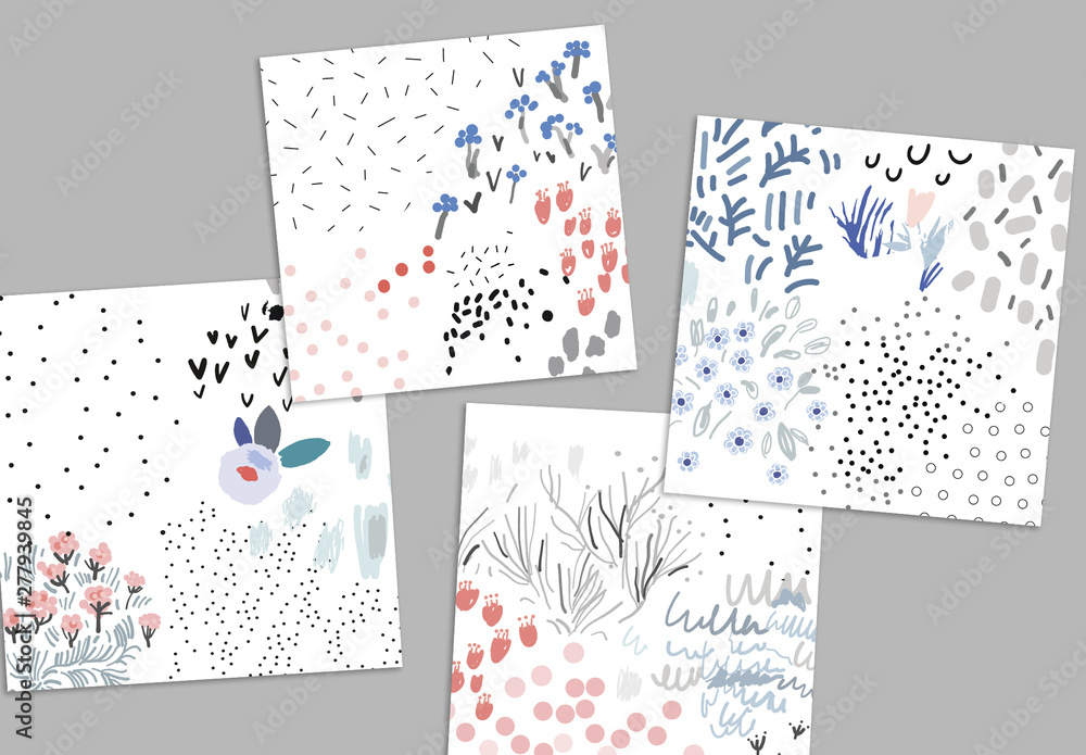 Fototapety, obrazy: Set of Hand Drawn Floral Backgrounds