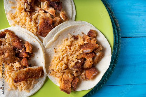 Mexican chicken milanese tacos with red rice Wallpaper Mural