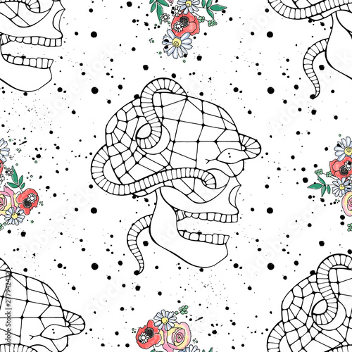 Foto auf AluDibond Aquarell Schädel Vector hand drawn illustration seamless pattern of skull with watercolor flowers, spider web, tooth, snake, face of human Print horror for t shirt. Mexican style, day of the dead, halloween. Sketch