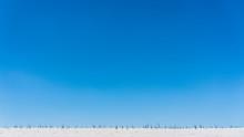 Stark Ridge Of Beach Dune With Sparse Grass Beneath Bright Blue Sky