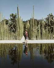 Tourist Man Looks Down A Path At A Cactus Garden Reflecting Pool
