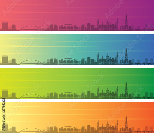 Zaragoza Multiple Color Gradient Skyline Banner