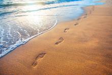 Beach, Wave And Footprints At ...