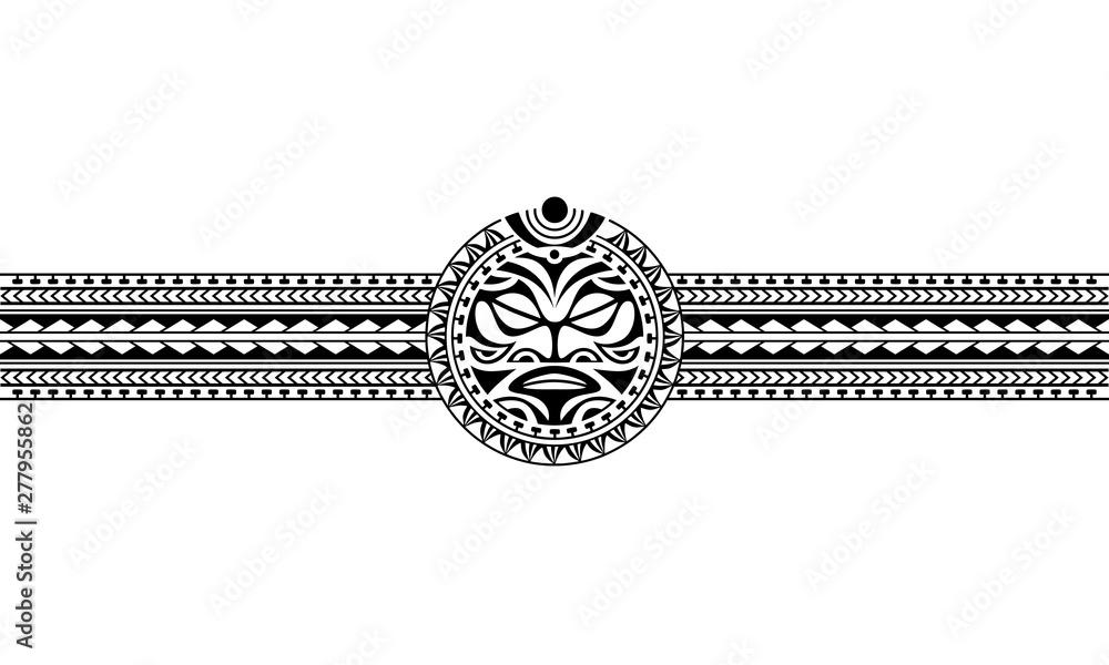 Fototapeta Maori polynesian tattoo border tribal sleeve pattern vector. Samoan bracelet tattoo design fore arm or foot. Armband tattoo tribal.
