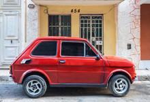 Parked Red Vintage Car, Havana...