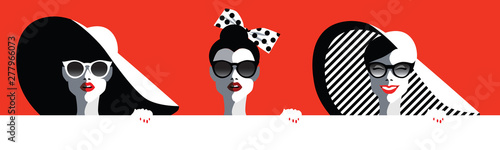 Tuinposter Pop Art Beautiful young women with sunglasses and hat, bow, retro style. Pop art. Summer holiday concept. Vector eps10 illustration