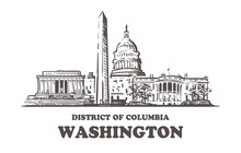Washington Sketch Skyline. Washington, District Of Columbia Hand Drawn Vector Illustration.