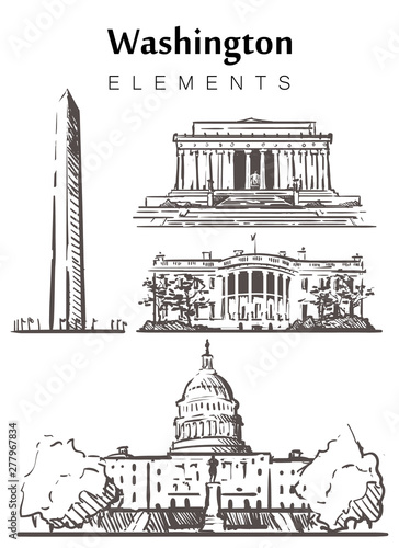 Fototapeta Set of hand-drawn Washington buildings, sketch vector illustration