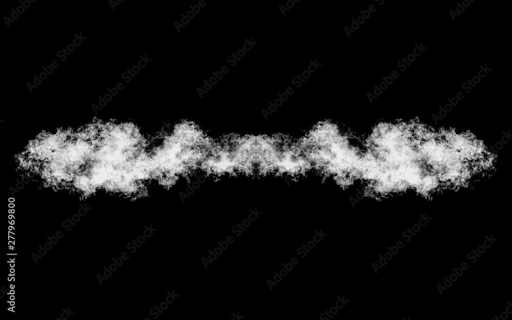 Fototapety, obrazy: Smoke shape isolated on black, title element, underline