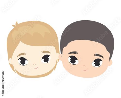 Poster de jardin Doux monstres heads of cute little kids avatar character