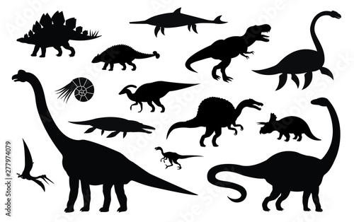 Vector set collection of different black dinosaur silhouette isolated on white b Fototapete