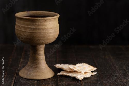 Holy Communion or Lords Supper Symbols of Jesus Christ Fototapet