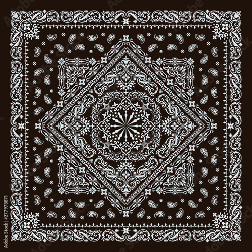Fotografie, Obraz Vector ornament paisley Bandana Print