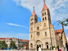 Qingdao Christian Church Surround The German Building Style That Is The Tourist Landmark At Qingdao, China
