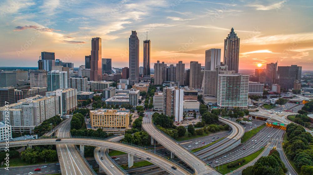 Fototapety, obrazy: Sunset over Downtown Atlanta, Georgia, USA
