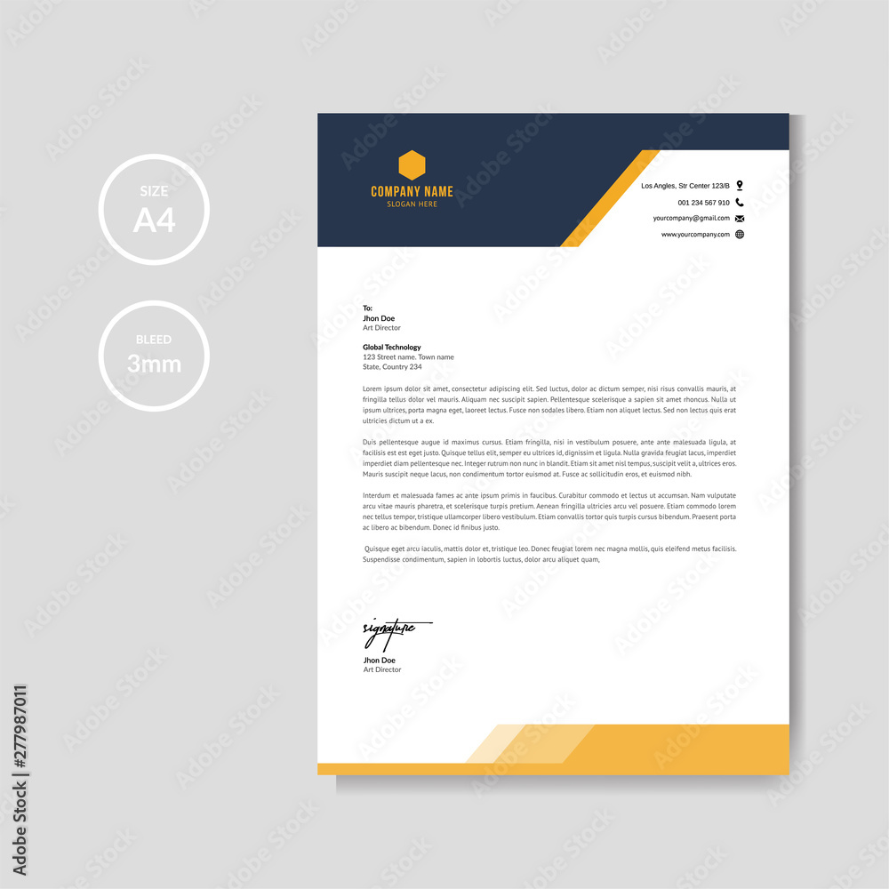 Obraz Modern orange letterhead layout template vector fototapeta, plakat