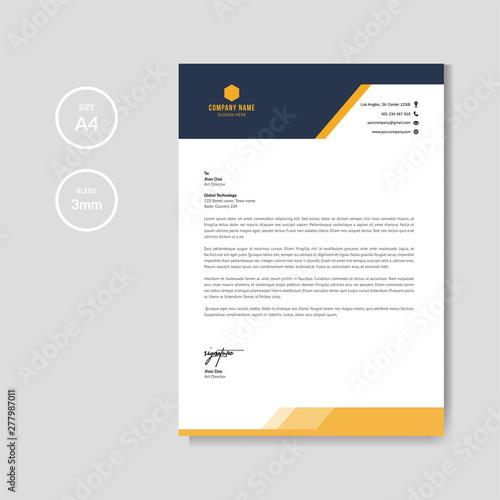 Fototapeta Modern orange letterhead layout template vector obraz