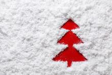 Shape Of Fir Tree On Snow