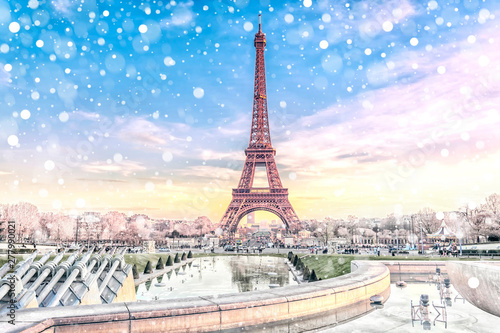 Poster de jardin Paris View of the Eiffel Tower in Paris at Christmas time, France. Romantic travel background