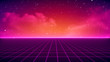 canvas print picture Retro Sci-Fi Background Futuristic landscape of the 80`s. Digital Cyber Surface. Suitable for design in the style of the 1980`s