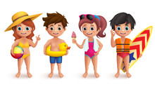 Summer Kids Vector Characters ...