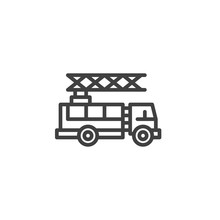 Fire Truck Line Icon. Firefighter Truck Linear Style Sign For Mobile Concept And Web Design. Fire Engine Outline Vector Icon. Symbol, Logo Illustration. Vector Graphics