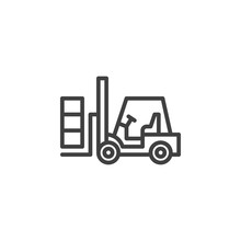 Forklift Truck Line Icon. Lifting Machine Linear Style Sign For Mobile Concept And Web Design. Loader, Forklift Outline Vector Icon. Symbol, Logo Illustration. Vector Graphics