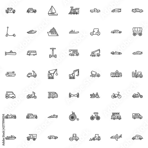 Pinturas sobre lienzo  Transportation and transport line icons set