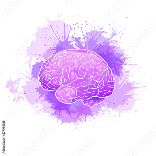 International Alzheimers Day. Human brain with purple watercolor stains. Disease and extinction. Vector cartoon illustration for medical articles, banners, cards and your design. Wall mural