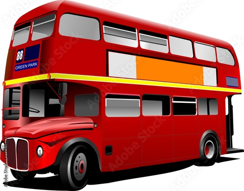 Fotografía red bus isolated on white background