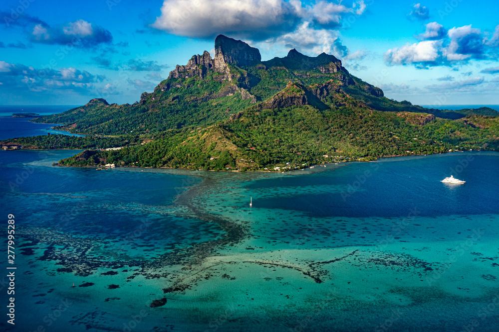 Fototapeta Bora Bora French Polynesia Paradise Island aerial view panorama