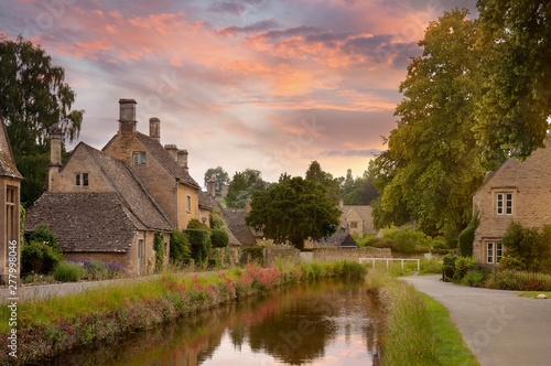 Vászonkép Cotswold village of Lower Slaughter, Gloucestershire, England