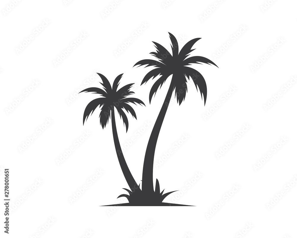 Fototapety, obrazy: Palm tree icon of summer and travel logo vector illustration